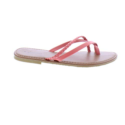 Detail T-strap Sandals - 26 Accessories Chatties Women's Smooth Thong Sandal with Braid Detail (7, Coral)