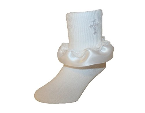Baby and Girls Ankle Socks with Embroidered Cross Satin Ruffle & Lace (7-8.5 Girls, White) by Socks For A Princess LLC
