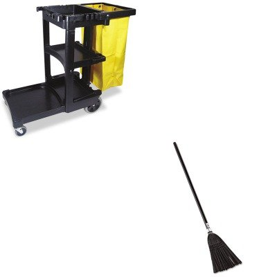 KITRCP2536RCP617388BK - Value Kit - Rubbermaid Lobby Pro Synthetic-Fill Broom (RCP2536) and Rubbermaid Cleaning Cart with Zippered Yellow Vinyl Bag, Black (RCP617388BK)