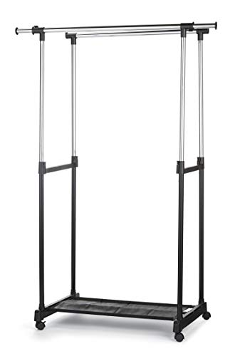Type A Portable Clothes Rack | Freestanding Heavy-Duty Garment Rack with Double Garment Rack & No Tool Assembly | Perfect for Your Bedroom, Office or Home | 2-Sided Hanging Rods | Black