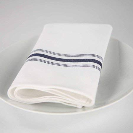 Riegel 4-Pack Premier Hotel Quality Striped Bistro Napkins in Blue(18'' x 22'') - No Picking, Snagging Or Linting