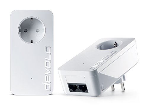 Devolo dLAN Powerline 550 duo+ Starter Kit (550 Mbit/s, 2 LAN Ports, Steckdose, Datenfilter) weiß