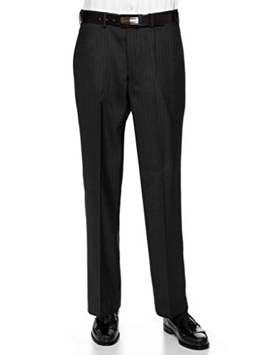 Striped Tailored Suit - GIOVANNI UOMO Mens Pleated Front Pin Striped Dress Pants 33long Black