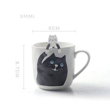 LOYWT Tazas de cerámica de, cucharas del gato, tazas de café lindas, tazas de la historieta, tazas creativas personalizadas, D: Amazon.es: Hogar