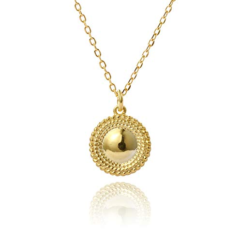 Gold Coin Pendant Necklace for Women Girls Men 925 Sterling Silver 14K Gold Plated Charm Sun flower Moon Round Circle Disk Vintage Engraved Polished Beaded Retro Choker Chain Chic Personalized Jewelry