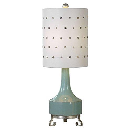 Mid Century Modern Light Green Table Lamp | Capiz Polka Dot Shade Retro 313wje4a5rL