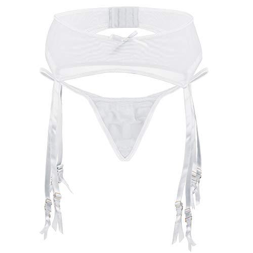 Slocyclub Women's Stretch Mesh Metal Clasp Garter Belt, White, 2XL(US ()