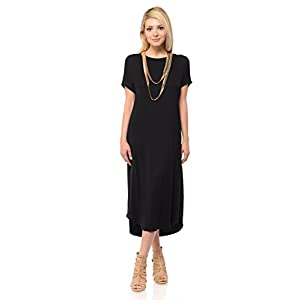 8bc7c076656 iconic luxe Women s A-Line Short Sleeve Midi Dress Solid and Floral Print  ...