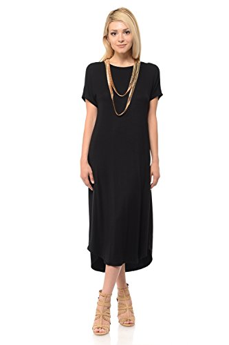 iconic luxe Women's A-Line Short Sleeve Midi Dress Large Black