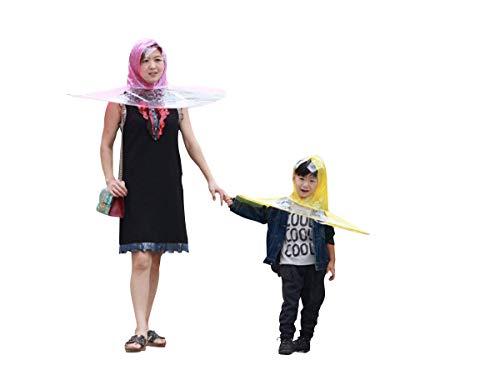 Creative UFO Waterproof Hands Free Umbrella Rain Hat Headwear Cap Raincoat Outdoor Fishing Golf Child Adult student Rain Coat Cover Umbrellas (1.55-1.8M( height), Random(yellow,pink,blue)) (Stand Diy Umbrella Patio)