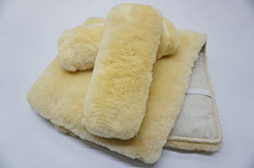 MILABERT Genuine Medical Sheepskin Seat & Back Cushion - Armrest Cover Kit - Ideal on Office Chair or Wheelchair