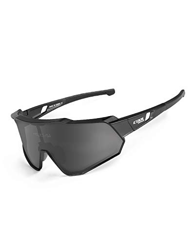 Cool Change Polarized Cycling Sunglasses Full Screen TR90 Unbreakable Lightweight Sports Glasses for Men Women - Black