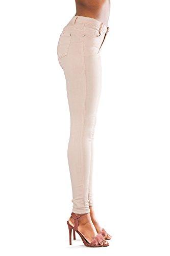 Waisted nbsp;– Vita Alta Donna Pink Comodi Nero High Slim A Elasticizzato Taglia nbsp;14 Lustychic Chic Blu Da Pantaloni 6 Bianco Fit Lusty Donne Skinny Jeans SwvRxz
