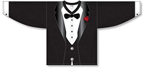 Tuxedo Sublimated Black Pro Plain Blank Hockey Jerseys