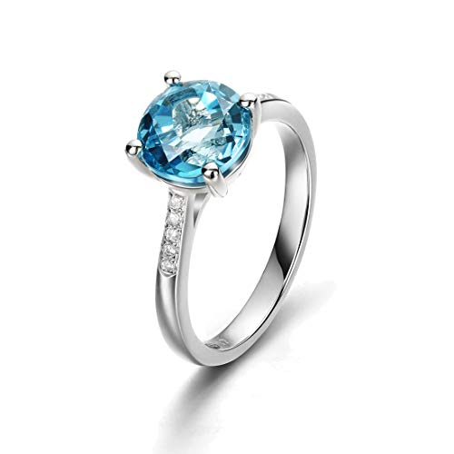 Fancime 925 Sterling Silver London Blue Round 1ct Topaz Women Rings Charm Noble Jewelry Size 7