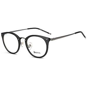 DONNA Stylish Clear Lens Glasses Samll Circle Frame Blue Light Blocking for Computer DN08(Matte Black)