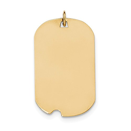 Solid 14k Yellow Gold Plain .018 Gauge Engraveable Dog Tag with Notch Disc Pendant Charm (20mm x 35mm)