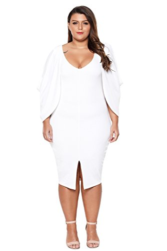 Women's Casual Fashion Cascading Slit Long Sleeve Midi Bodycon Plus Size Cocktail Party Dress White XX-Large