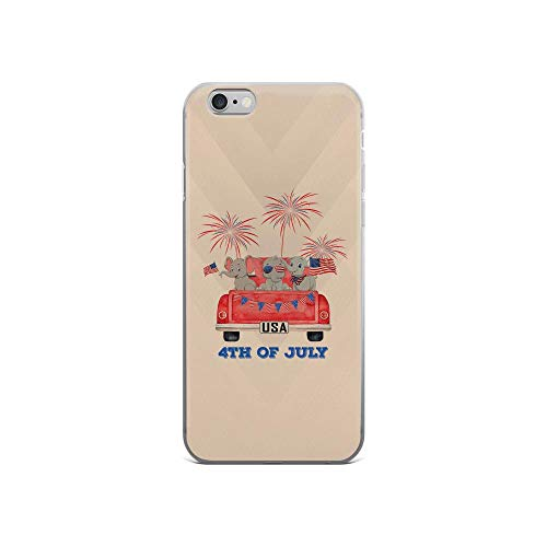 iPhone 6/6s Pure Clear Case Cases Cover Three Cute Elephants American Flag Patriotic Animal USA 4th of July American
