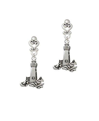 Antiqued Lighthouse - Filigree Heart Earrings