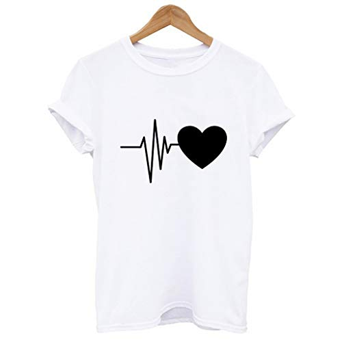 Women's Refreshing Simple Sports T-Shirt Loose Short-Sleeved Heart Print T-Shirt Casual O-Neck Top by ASERTYL (Image #3)