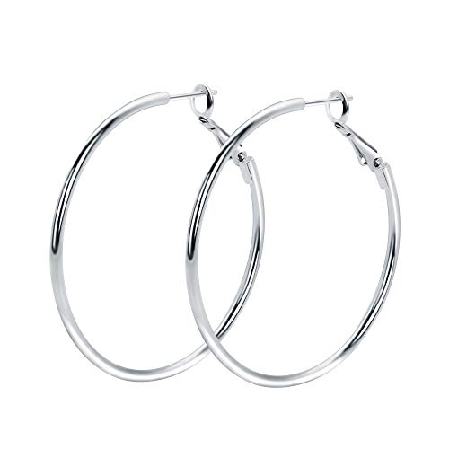 (Rugewelry 925 Sterling Silver Hoop Earrings,18K White Gold Plated Polished Rounded Hoop Earrings For Women Girls,Gift Box Packaging)