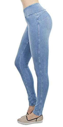 (Shaping Pull On Butt Lift Push Up Yoga Pants Stretch Indigo Denim Skinny Jeans in Indigo Celeste Size M)