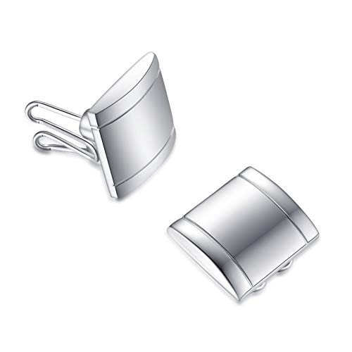 BUTTONCUFF Executive Silver Button Covers - Imitation Cuff Links for Tuxedo, Business or Formal Shirts (SQ-11) ()