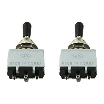 Musiclily Box Style Les Paul SG 3 Way Pickup Selector Toggle Switch, Black Tip(Pack of 2)