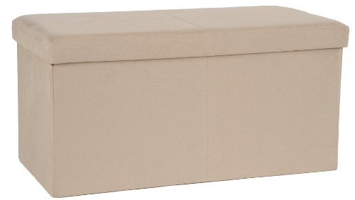 FHE Group Microsuede Folding Storage Ottoman Bench, 30 by 15 by 15 Inches, Beige