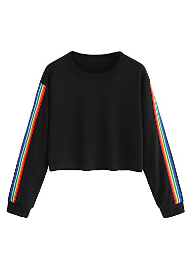 MAKEMECHIC Women's Rainbow Color Block Striped Crop T-Shirt Pullover Shirt Black S
