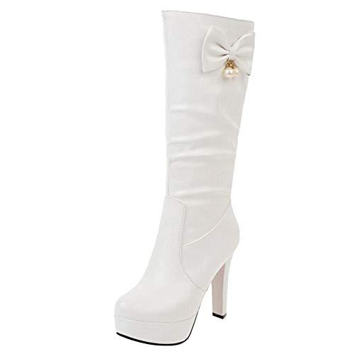 Piattaforma Alto Bianco On Medio Tacco Pull Stivali Donne Fiocco TAOFFEN 7xWvwqaET7