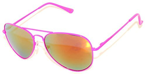 Stylish Neon Pink Metal Frame Aviator Sunglasses with Flash Mirror Lens Gold-Red Color Spring Hinge ()