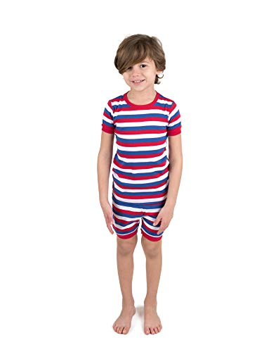 Leveret Shorts Pajamas Boys 2 Piece Pajamas Set 100% Cotton (Red/White/Blue,Size 6 Years)