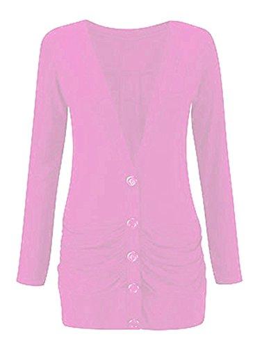 Longsleeve Womens Size B Pocket Cardigan Rose Boyfriend 8 up 26 Button Ladies Zqnw0d5Z