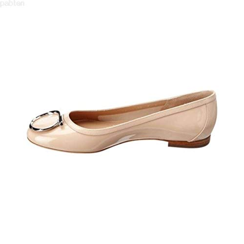 (SALVATORE FERRAGAMO Womens ENA Closed Toe Slide Flats, New Bisque, Size 5.5)