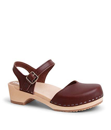 Sandgrens Swedish Wooden Low Heel Clog Sandals for Women | Saragasso Cognac Veg, EU 41