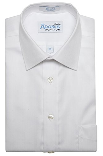 Boys 100% Cotton Non Iron White-on-White 'Royal Herringbone' Barrel Cuff Dress Shirt