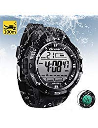 TEKMAGIC 10 ATM Digital Submersible Diving Watch 100m Water Resistant Swimming Sport Wristwatch Luminous LCD Screen with...