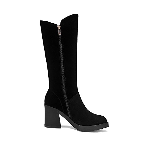 with AmoonyFashion Closed Heels Women's and Heels Slipping Boots High Rough Sole Toe Black Toe Round qr8FSwqB