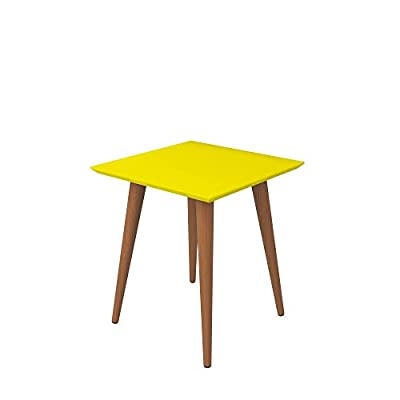 Manhattan Comfort Utopia Collection Modern Mid Century Square End Table Living Room Accent With Wood Splayed Legs… - Modern End Table: The Utopia Collection introduces a modern end table with a yellow square top and natural wood legs. Perfect for your living room, bedroom and beyond. This mid century end table has a versatile design allowing it to be used chairside as a high end table or accent table. Multipurpose Home Accent: Crafted From High Quality MDF, this decorative end table will be around for years to come. Designed to be functional, yet beautiful, it can easily be used as an entryway coffee table or used to hold books, plants, coffee or simply as a square end table for the living room. Mid Century Accent Table: The splayed legs provide a mid-century style that combines with the bright gold or mustard color of the table top that enhances the appeal of this carefully crafted conversation piece. There are so many different ways to use this multipurpose end table, it's even used as a nightstand! - living-room-furniture, living-room, end-tables - 313x0MYlrgL. SS400  -