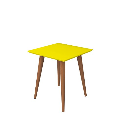Manhattan Comfort Utopia Collection Modern Mid Century Square End Table Living Room Accent With Wood Splayed Legs, Yellow Top