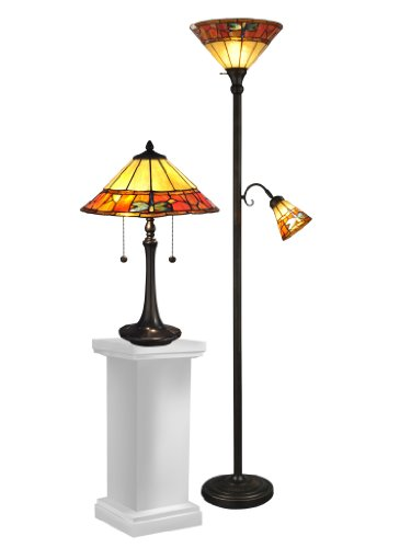 Dale Tiffany TC12178 Genoa Table and Floor Lamp Set, 70