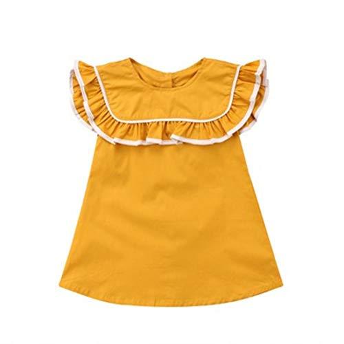 Baby Pattern Crochet Bonnet - Hatoys Baby Girls Sleeveless Solid Ruffles Princess Dresses Clothing (3T(Height:105-110CM), Yellow)