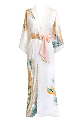 Old Shanghai Women's Kimono Robe Long - Watercolor Floral (Peacock Feather- White)