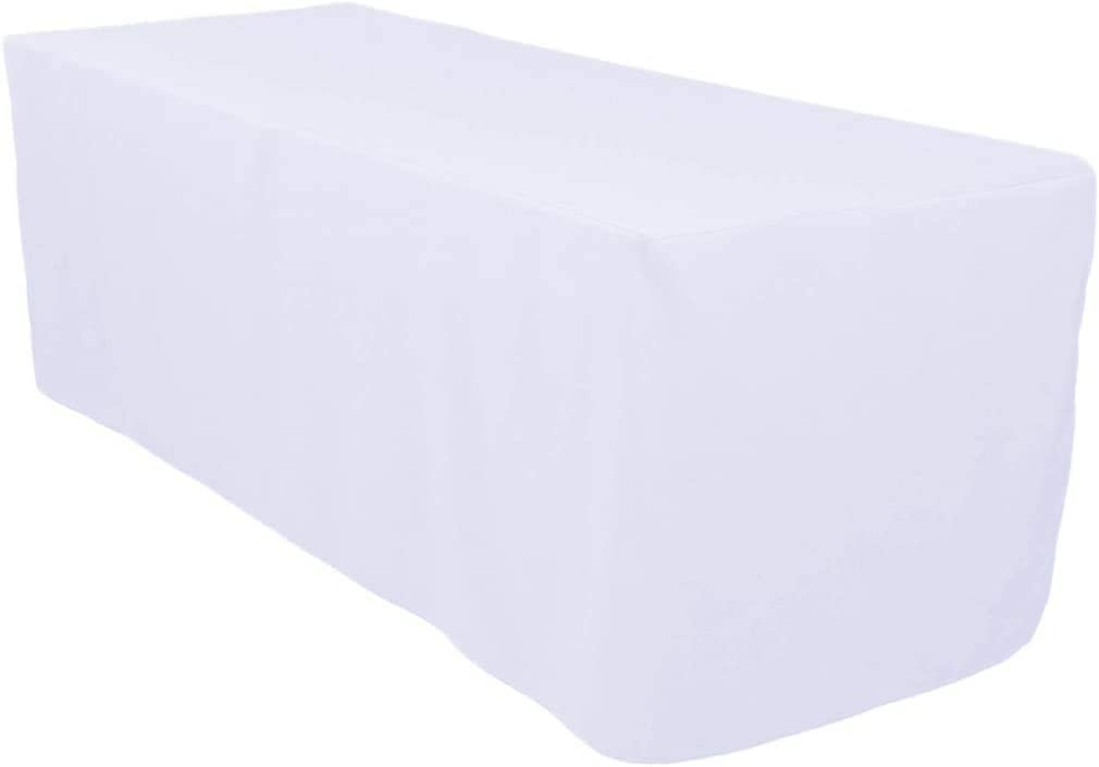 Surmente Tablecloth Polyester 6 ft Tablecloth Rectangle Table Cover for Kitchen Dinning Party Wedding Rectangular Tabletop Buffet Decoration (White)