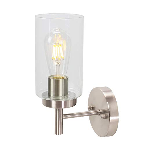 VINLUZ One Light Bathroom Wall Light Fixtures Brushed Nickel with Frosted Glass, Porch Singel Wall Lighting