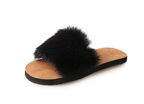 Zapatos Zapatos caseros Invierno Comfort de Marrón Negro Zapatillas Plano Beige Tacón DANDANJIE Abierta Mujer de Marrón Punta 6dSqgw6