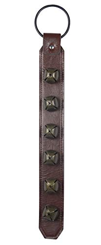 DE 18.5 Inch Leather Christmas Sleigh Bell Hanging Strap with Metal Loop and Bronzed Bells