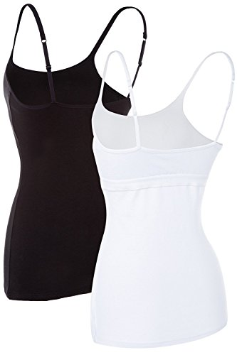 ALove Women Soft Camisoles Basic Cami Tops Shelf Bra Casual Tank Tops 2 Pack Small by ALove (Image #3)